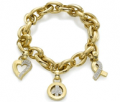Love And Pride: 18k Yellow Gold Bracelet With Love Peace And Hope Charms