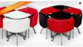 Menzzo: Table Carrée Bicolore En Verre Avec 4 Chaises Encastrables