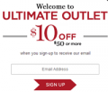 Ultimate Outlet: $10 Off $50+ When You Sign Up
