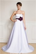 IZIDRESS: 75% Off A-Line/Princess Strapless Sweetheart Sweep/Brush Train Satin Evening Dress