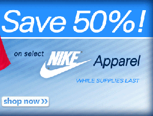 50% off select Nike Apparel