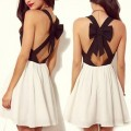 SheIn: Black Criss Cross Back Bowknot Pleated Dress