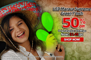 Cool Glow: 50% Off LED Maraca Supreme - Green 7 Inch