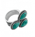 Barse: Cactus Flower Turquoise Ring For $48.00