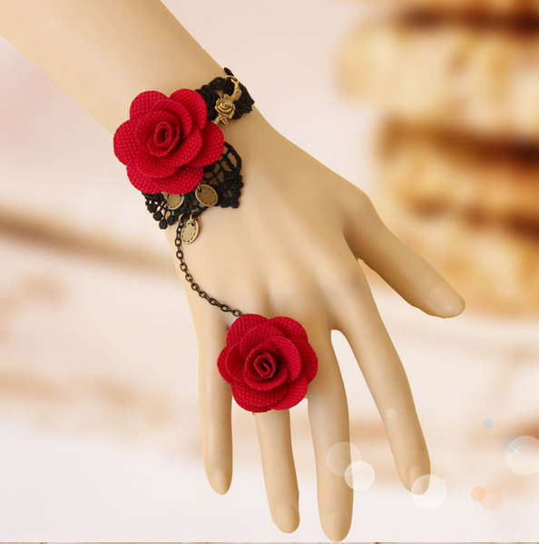 60% off Retro Gothic Black Lace with Red Roses Fashion Women's Rings