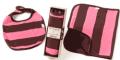 KeeKa: Burpcloth + Bib Set- Pink And Chocolate At Just $25