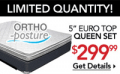 Sleepys: Ortho-Posture Firm Euro Top Mattress Starting At $299