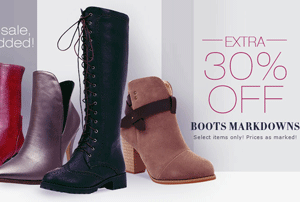 30% Off Fall sale boots