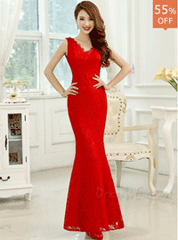 50% off Pretty V-neck Lace Prom Dress