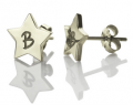 Getnamenecklace: $24.99 Personalized Star Stud Earrings With Initial Silver