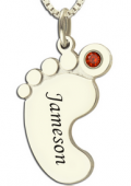 Getnamenecklace: $25.99 Personalized Mom Jewelry Baby Feet Name Necklace With Birthstone Silver