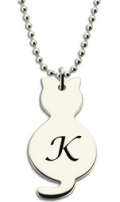 Getnamenecklace: Personalized Tiny Cat Pendant Necklace With Initial Silver For Only $24.99