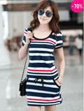Dressve: 70% Off Stripe Round Neck Day Dress