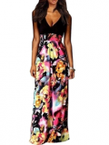 Stylish Plus: 70% Off V Neck Floral Printed Patchwork Maxi-dress