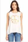 The Trend Boutique: $59 Chaser LA Peace Lei Jersey Flounce Tank In White