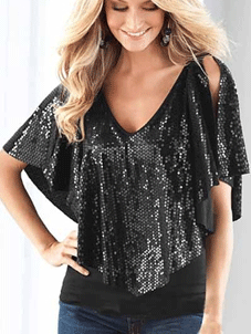 Stylish Plus: 50% Off New Arrival Round Neck Paillette Short-sleeve-t-shirt