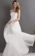 COCO Melody: 50% Off Modern Sheath-Column Strapless Floor Length Tulle Wedding Dress CWZT13023