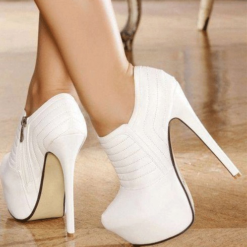 55% off Fashion Pure White Platform High Heel Ankle Boots