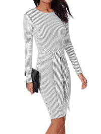 Fashion Mia: 90% Off Glamorous Round Neck Striped Bodycon-Dress