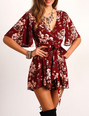 SheIn: Red V Neck Floral Tie Waist Jumpsuit