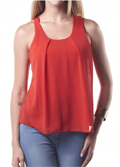 Modlily: Round Neck Sleeveless Red Loose Blouse