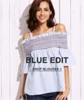 SheIn: 70% Off Blue Bold Shoulder Blouses