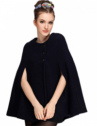 Choies: 45% Off Black Wool Blend Cape Coat
