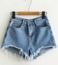 Romwe: Blue Raw Hem Denim Shorts