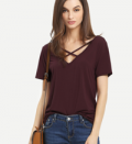 Romwe: Burgundy Criss Cross Front Casual T-Shirt