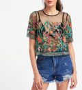 Romwe: Buttoned Keyhole Botanical Embroidered Mesh Top