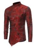 Ericdress: 39% De Descuento La Camisa De Los Hombres Delgados De La Impresión Irregular Del Collar Del Soporte Del Ericdress