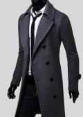 Ericdress: 68% Rabatt Auf Ericdress Plain Zweireiher Schlanke Lange Woll Mantel Für Männer