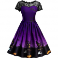 RoseWholesale: 55% Off Halloween Vintage Lace Insert Pin Up Dress