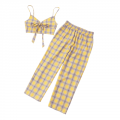 Zaful: Tartan Knot Camisole And Pants Set For $18.49